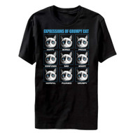 Expressions of Grumpy Cat happy sad bored proud confused Adult T-Shirt Tee