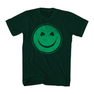 Irish Green Happy Smiley Face 4 Leaf Clover St. Patty's Day Adult T-Shirt Tee