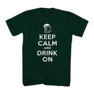 T-Line Men's Funny Shirt Keep Calm Drink On Graphic T-Shirt, Forest Green