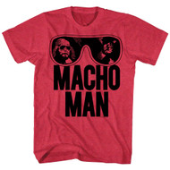 Macho Man Ooold School Cherry Heather Adult T-Shirt Tee
