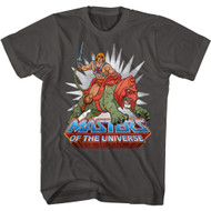 Masters of The Universe 80s Cartoon He-Man & Battle Cat Adult Short Sleeve T-Shirt Tee