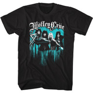 Motley Crue Band Logo With Band Photo Adult Short Sleeve T-Shirt Graphic Tee