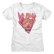 Def Leppard Rock Band The Leopard Triangle Band Logo Ladies Short Sleeve T-Shirt