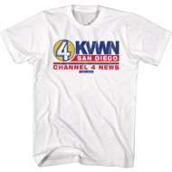 Anchorman Movie KVWN Channel 4 News San Diego Adult Short Sleeve T-Shirt Graphic Tee