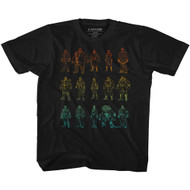 Street Fighter Video Game Character Outlines Youth Short Sleeve T-Shirt Graphic Tee