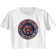 Saved By The Bell 90s Print Bayside Tigers Logo Ladies Short Sleeve Festival Cali Crop Top