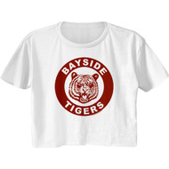 Saved By The Bell Show Bayside Tigers Emblem Ladies Short Sleeve Festival Cali Crop Top