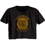 Saved By The Bell TV Show Bayside Tigers Emblem Ladies Short Sleeve Festival Cali Crop Top