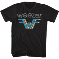 Weezer Rock Band 3D Multi-Colored Stacked Logo Adult Short Sleeve T-Shirt Tee