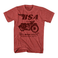 T-Line Men's BSA Motorcycles 500 1 Color Graphic T-Shirt, Heather Red