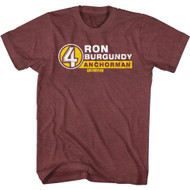 Anchorman Movie Ron Burgundy KVWN Channel 4 News Adult Short Sleeve T-Shirt