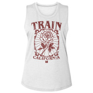 Train Rock Band California Flower Ladies Slub Sleeveless Crew Neck Shirt