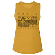 Train Rock Band San Francisco Beachy Sketch Ladies Slub Sleeveless Crew Neck Tee