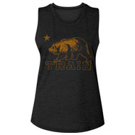 Train Rock Band Logo California Bear Ladies Slub Sleeveless Crew Neck Tee