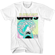 Jaws Horror Movie Neon Waves & Logo Adult Short Sleeve T-Shirt Graphic Tee
