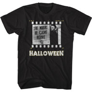 Halloween Horror Movie The Night He Came Home Film Strip Adult Short Sleeve T-Shirt