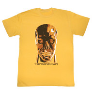 Terminator 1980's SciFi Action Movie Metallic Cyborg Head Adult T-Shirt