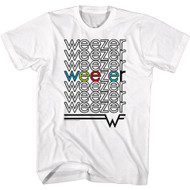 Weezer Rock Band Weezer Logo Repeating One In Color Adult Short Sleeve T-Shirt