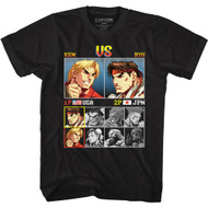 Street Fighter Video Game Ken vs Ryu Adult Short Sleeve T-Shirt Graphic Tee