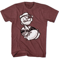 Popeye The Sailor Cartoon Arms Crossed Image Adult Short Sleeve T-Shirt Graphic Tee