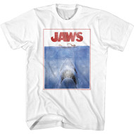 Jaws Horror Film Outlined Movie Poster Distressed Style Adult Short Sleeve T-Shirt