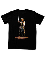 Conan Barbarian Destroyer Logo with Arnold Sword In The Air Black Adult T-Shirt