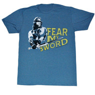 Conan Barbarian Destroyer Arnold Schwarzenegger Fear My Sword Blue Adult T-Shirt