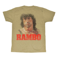 Rambo 80's Action Thriller War Movie Stallone Face Yellow Green Adult T-Shirt