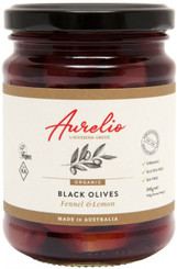 Aurelio Organic Black Olives Fennel and Lemon Glass jar 240g (6)