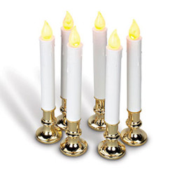 9 Inch Battery Operated Candolier Set of 6 With Gold Color Base - Timer