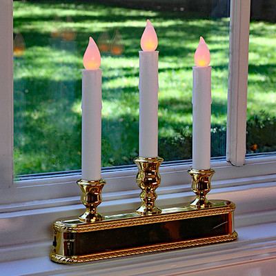 amber led christmas window candle 3 tier brass finish auto sensor image 1 - Led Christmas Window Candles