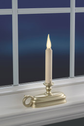 3D Dynamic flame window candle with pewter finish base.