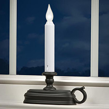 Flameless Window Candle with Bronze Finish Dual Mode White Flame