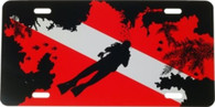 Dive Flag and Diver on a Reef License Plate