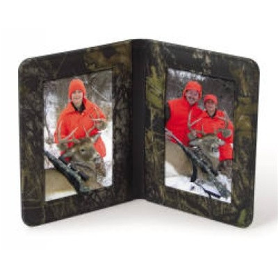 Camouflage Leather Double Picture Frame 4x 6 Size Go2 Outfitters