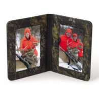 "Camouflage Leather Double Picture Frame (4""x 6"" size)"