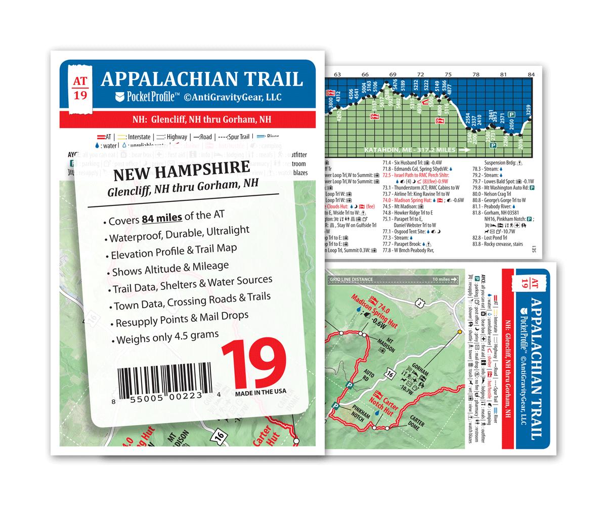 Gorham NH AT Pocket Profile Appalachian Trail Map AT-19 Glencliff NH