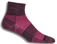 Wrightsock Merino Cool Mesh II Quarter Sock - Grey / Pink