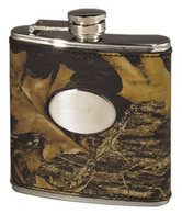 Weber's Leather Camo Flask with Engravable Plate