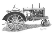 Antique Allis Tractor Pencil Sketch by Craig Cassell, a quadraplegic artist who draws with his mouth.