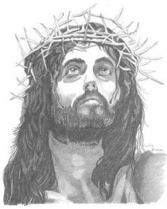 Jesus with Crown of Thorns Pencil Sketch by Craig Cassell