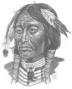 Great Plains Indian Warrior Pencil Sketch by Craig Cassell, a quadraplegic artist who draws with his mouth.