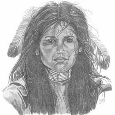 Young Indian Princess Pencil Sketch by Craig Cassell, a quadraplegic artist who draws with his mouth.