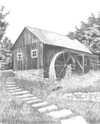 Water Wheel Mill Pencil Sketch by Craig Cassell, a quadraplegic artist who draws with his mouth.