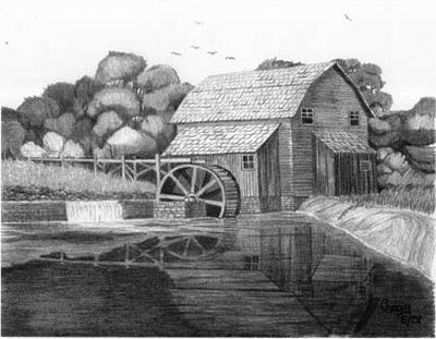 Rustic Water Wheel Mill Pencil Sketch by Craig Cassell, a quadraplegic artist who draws with his mouth.