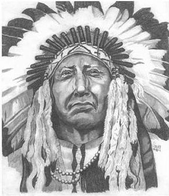 Indian Chief Pencil Sketch by Craig Cassell, a quadraplegic artist who draws with his mouth.