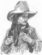 Tough Cowgirl Pencil Sketch by Craig Cassell, a quadraplegic artist who draws with his mouth.