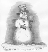 Snow Man Pencil Sketch by Craig Cassell, a quadraplegic artist who draws with his mouth.