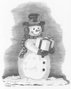 Snowman Bearing Gifts Pencil Sketch by Craig Cassell, a quadraplegic artist who draws with his mouth.