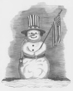 Patriotic Snowman Pencil Sketch by Craig Cassell, a quadraplegic artist who draws with his mouth.